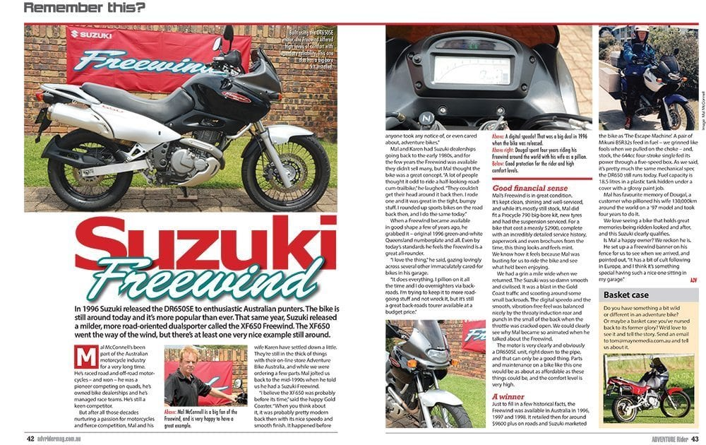 Mal McConnell and his Suzuki Freewind in March 2017 Adventure Rider Magazine